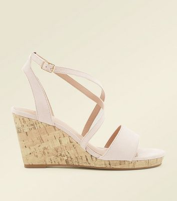 Wide Fit Nude Suedette Strappy Cork Wedges