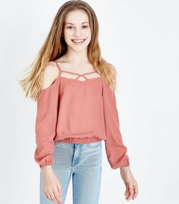 Teens Deep Pink Lattice Neck Cold Shoulder Top