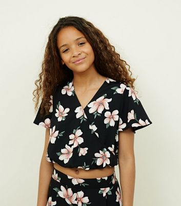 Girls Black Floral Wrap Front Top