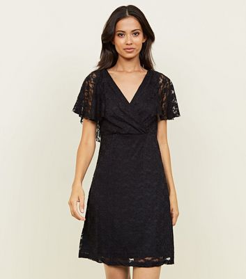 Mela Black Lace Wrap Front Dress