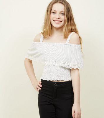 Teens White Woven Stripe Crochet Cold Shoulder Top
