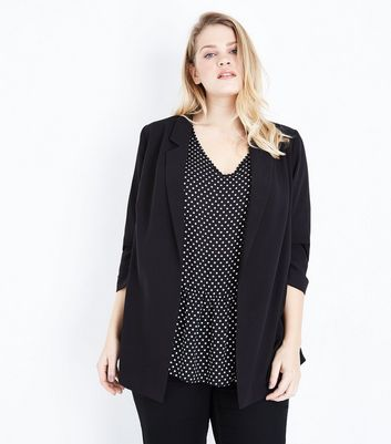 Curves Black Crepe Blazer