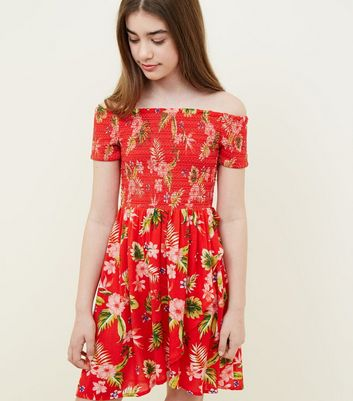 Teens Red Tropical Floral Print Bardot Dress