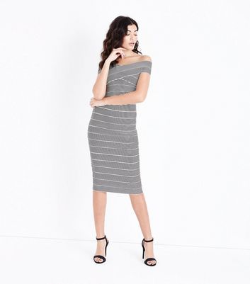 Black Stripe Bandage Pencil Skirt