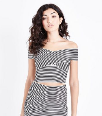 Black Stripe Bandage Bardot Top