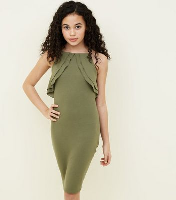 Teens Khaki Frill Trim Bodycon Dress