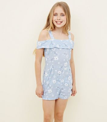 Teens Blue Floral Puff Print Bardot Playsuit by New Look
