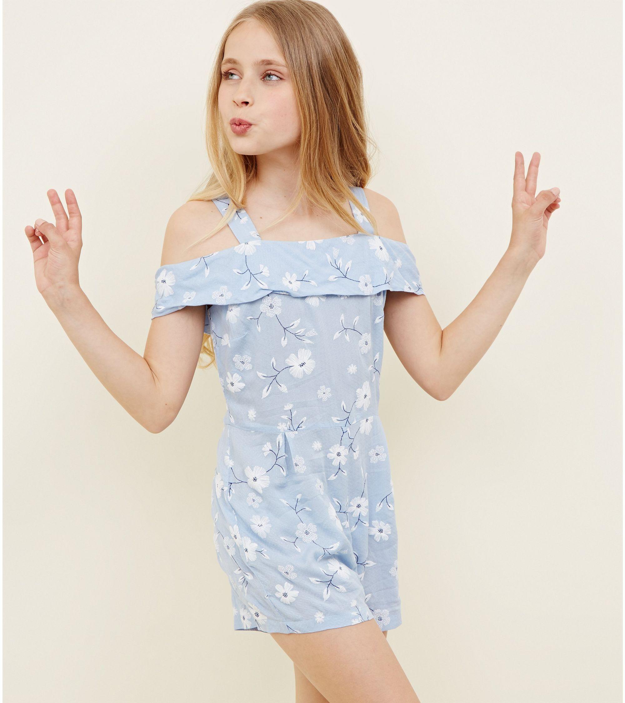 c0b15350f70b New Look Girls Blue Floral Puff Print Bardot Playsuit at £8