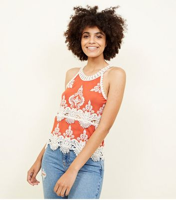 Rust Crochet Trim Sleeveless Top