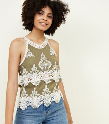 Khaki Crochet Trim Sleeveless Top