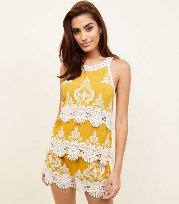 Mustard Yellow Crochet Trim Sleeveless Top