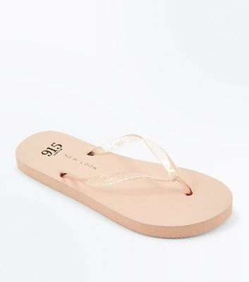 Teenager – Nudefarbene Flipflops mit Glitzerriemen
