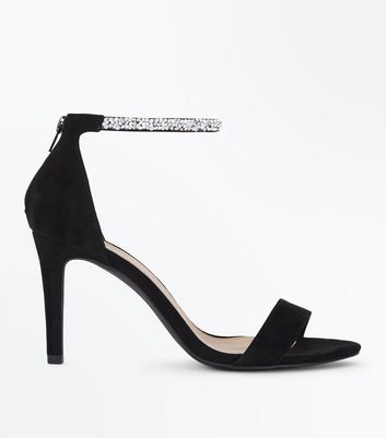 Wide Fit Black Suedette Diamanté Ankle Strap Sandals