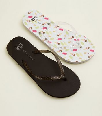 Girls 2 Pack Black and Ice Cream Print Flip Flops