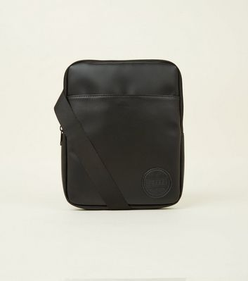 Black Leather-Look Cross Body Bag