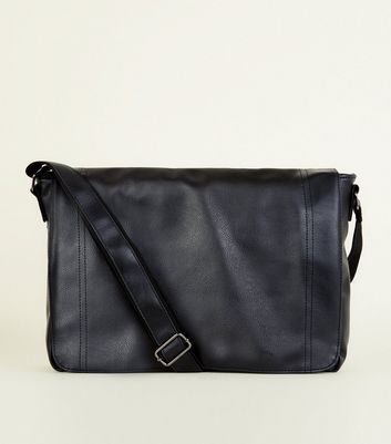 Black Leather-Look Messenger Bag