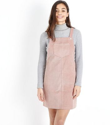 Petite Mid Pink Corduroy Pinafore Dress