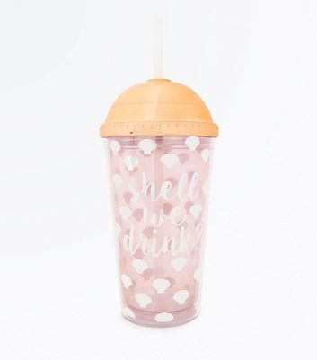 Pink Shell We Drink Slogan Cup