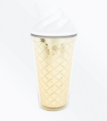 White and Gold Ice Cream Cup