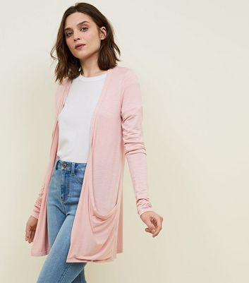 Tall Pink Textured Longline Cardigan