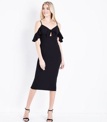 Tall Black Cold Shoulder Tie Front Midi Dress