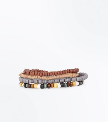 Tan Wooden and Beaded Bracelet Pack