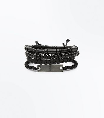 Black Bead and Plaited Bracelet
