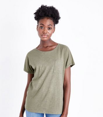 Tall Olive Organic Cotton Pocket Front T-Shirt