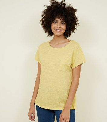 Tall Yellow Organic Cotton Pocket Front T-Shirt