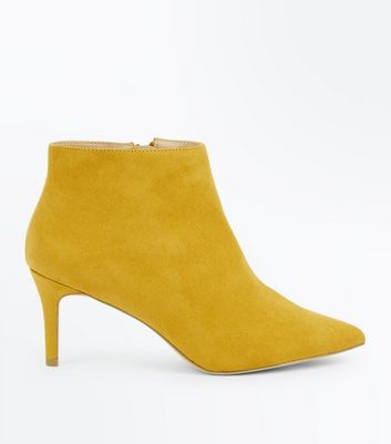 Wide Fit Mustard Suedette Stiletto Ankle Boots