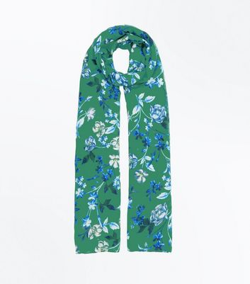 Green Floral Longline Scarf