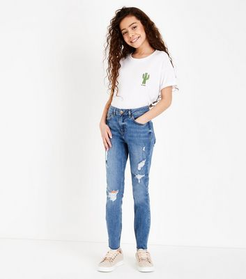 Teens Blue Ripped Mid Rise Skinny Jeans
