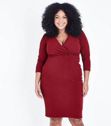 Curves Red Wrap Front Midi Dress