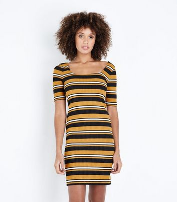 Mustard Stripe Square Neck Ribbed Bodycon Dress