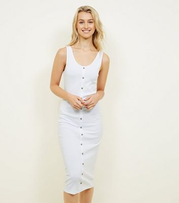 White Ribbed Button Front Midi Dress