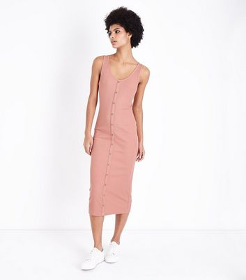 Coral Ribbed Button Front Midi Dress by New Look