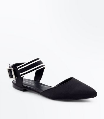 Black Stripe Ankle Strap Pointed Pumps