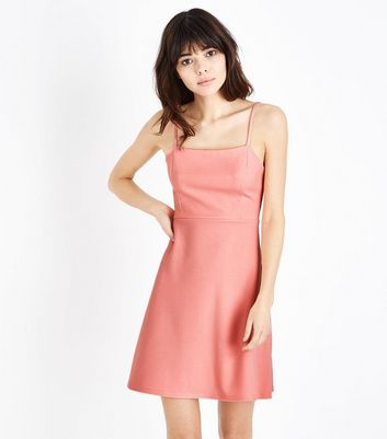Coral Crepe Strappy Square Neck Dress