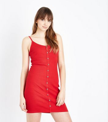 Red Ribbed Button Front Slip Dress