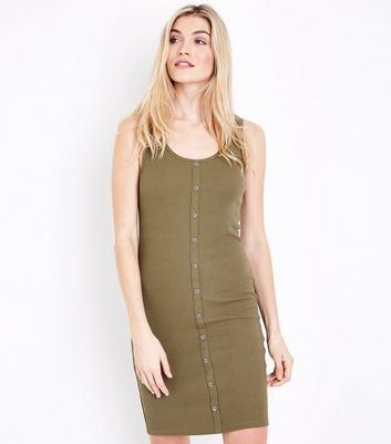 Khaki Ribbed Button Front Bodycon Dress