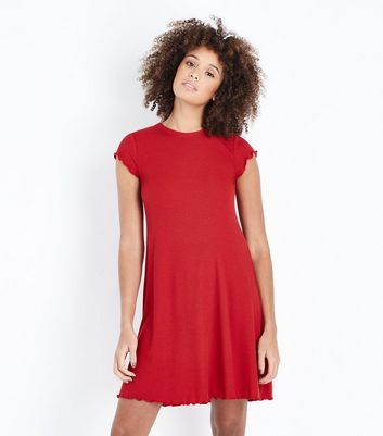 Red Ribbed Cap Sleeve Swing Dress