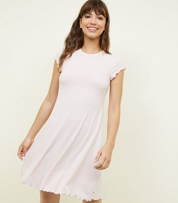 Pale Pink Ribbed Swing Dress