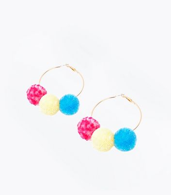Multi Coloured Triple Pom Pom Hoops