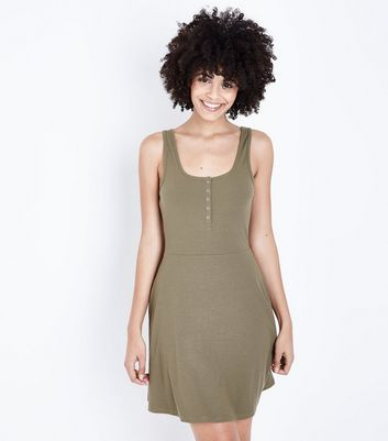 Khaki Ribbed Popper Front Skater Dress