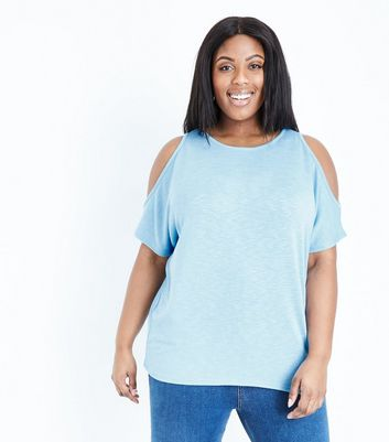 Curves Blue Cold Shoulder Fine Knit Top