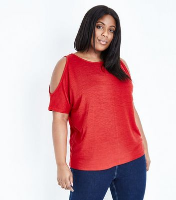 Curves – Rotes Cold-Shoulder-Top aus Feinstrick
