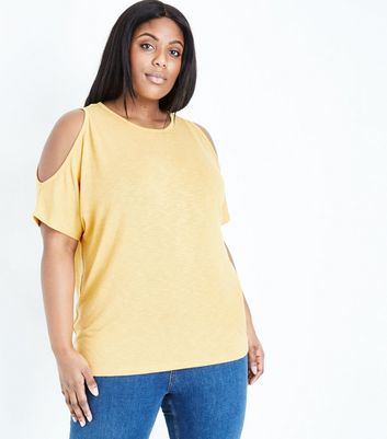 Curves Mustard Cold Shoulder Fine Knit Top
