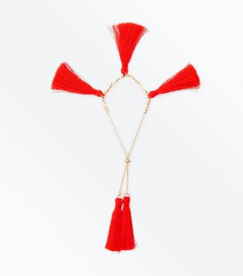 Red Tassel Toggle Bracelet