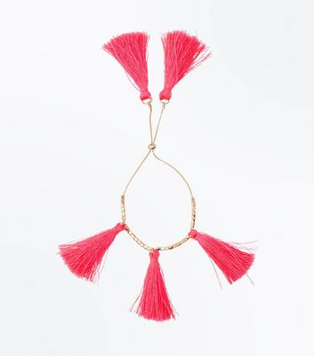 Bright Pink Tassel Drop Bracelet