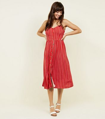 Red Stripe Button Front Midi Dress